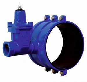 nawiertka wodociągowa NWZ do rur PVC i PE żeliwna malowana epokdydo farbą proszkową w kolorze niebieskim