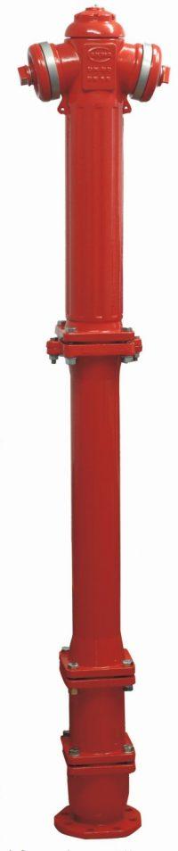 hydrant nadziemny z podwójnym zamlnięciem z zabezpieczeniem w przypadku złamania całożeliwny malowany na kolor czerwony